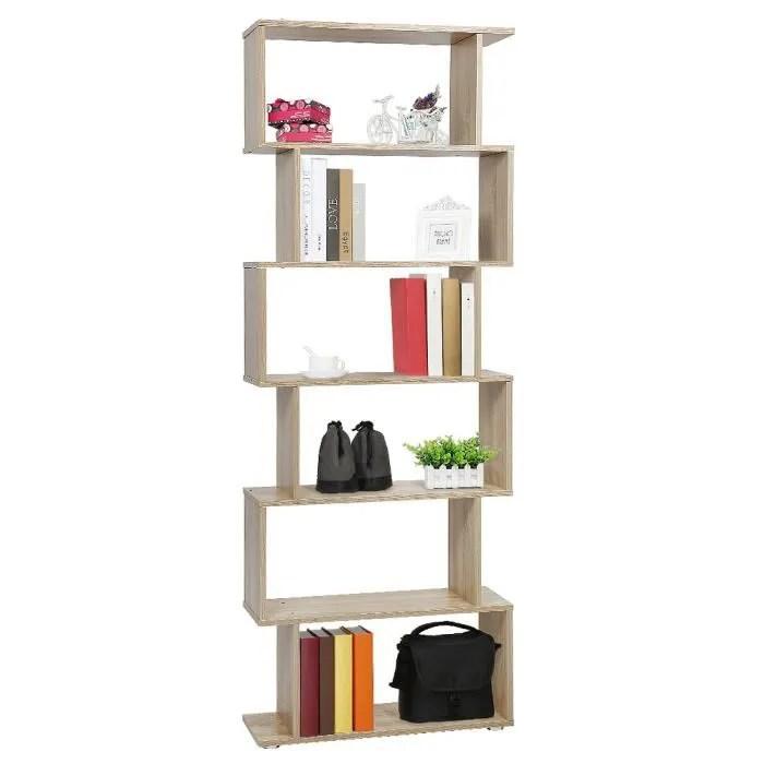 bibliotheque etagere zig zag design contemporain 6 niveaux en bois