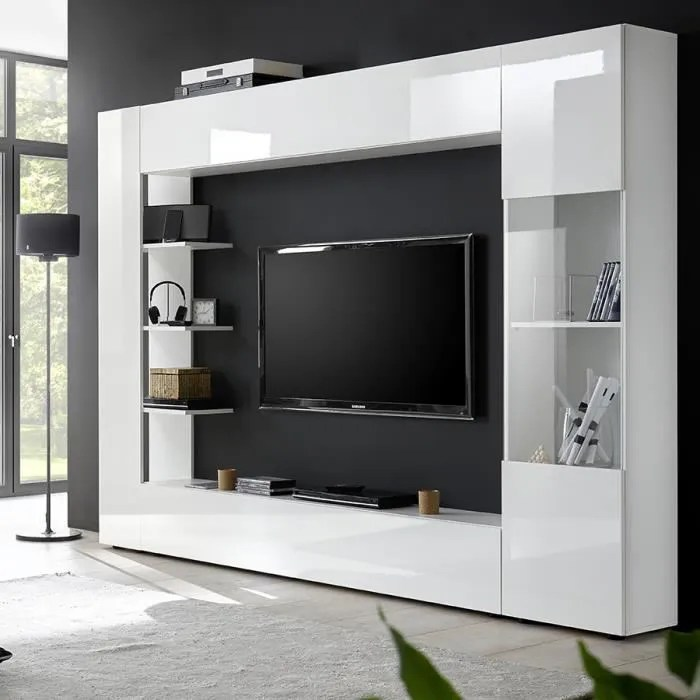 meuble tv mural blanc laque design fino blanc l 25