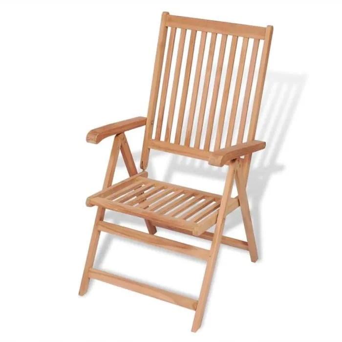 chaise inclinable de jardin bois de teck