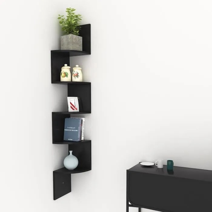 etagere murale meuble de rangement design moderne noire 20 20 120cm
