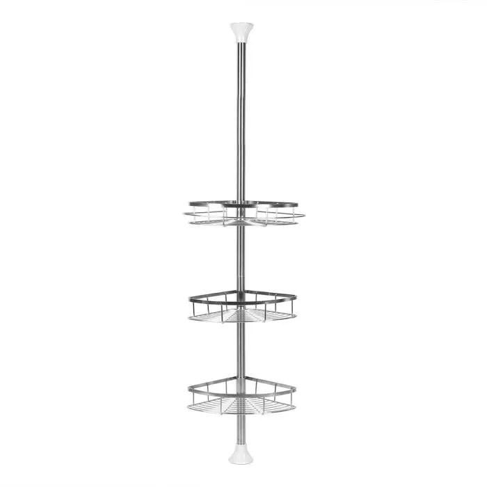 etagere d angle salle de bain en acier inox abs 3 tablettes reglable en hauteur