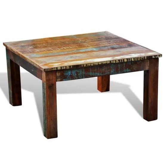 table basse ancienne vintage carree en bois naturel unique legerement different pour salon durable