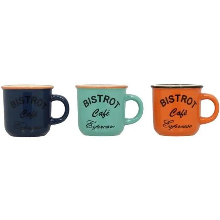 lot de 6 tasses a cafe en gres 14cl bistrot n 1 clair orange vert bleu