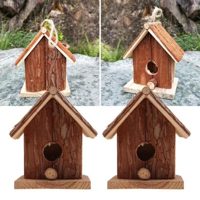 2pcs nid d oiseau cage pendaison en bois cage birdhouse maison de lit pour petit oiseau