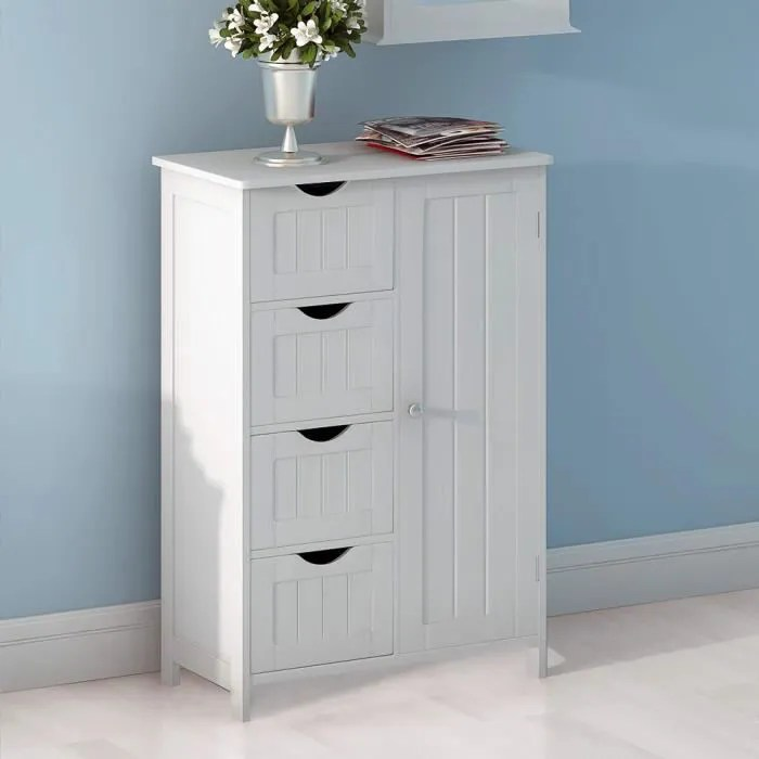 jeobest meubles de rangement 4 tiroirs 1 porte