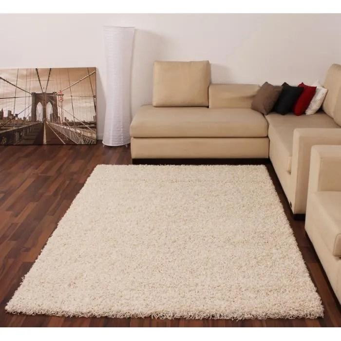 tapis shaggy longues meches en creme ivoire tapis