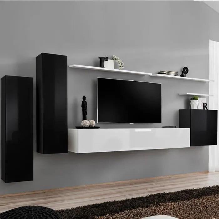 meuble tv suspendu blanc et noir agatha 2 noir l 3