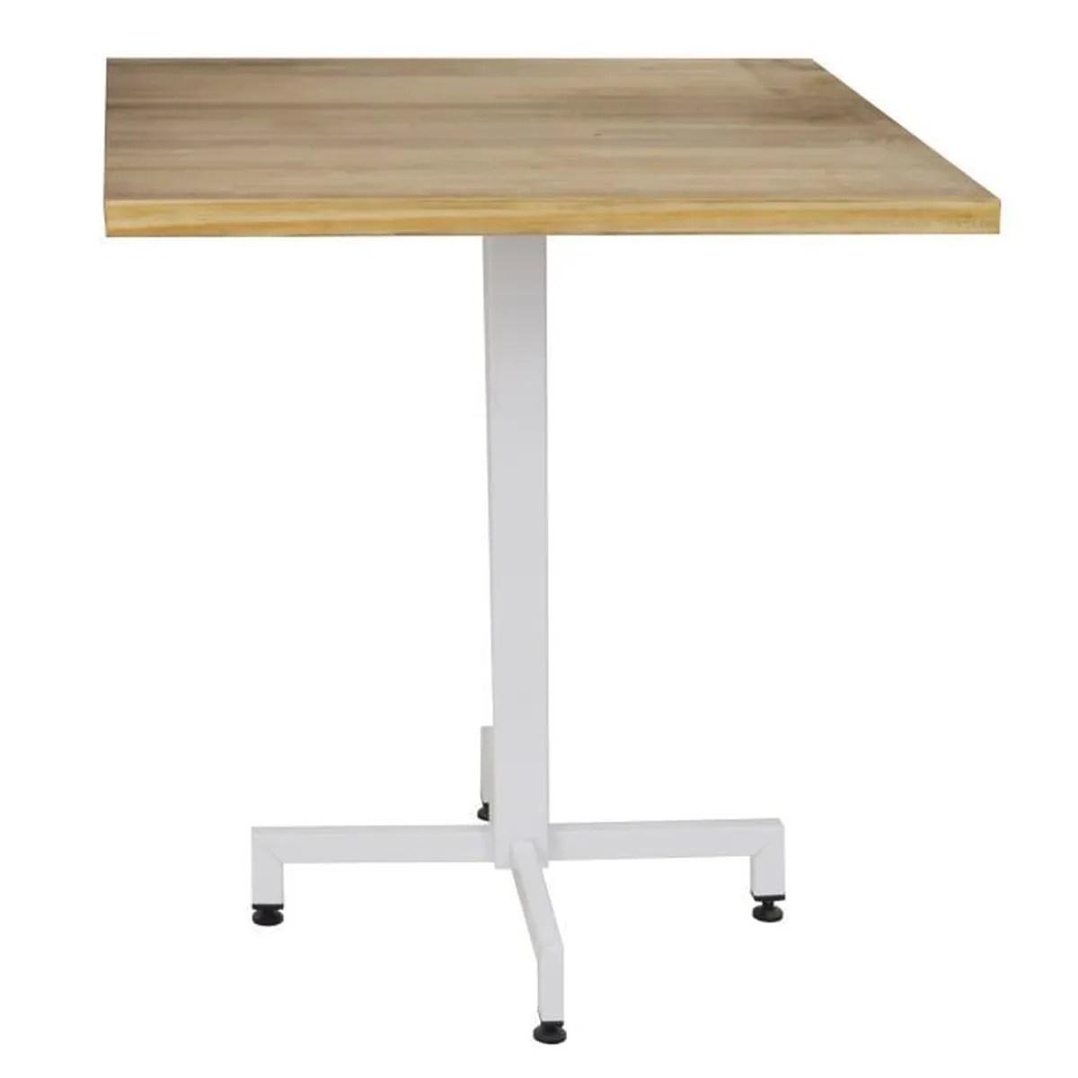 pied de table blanc carre
