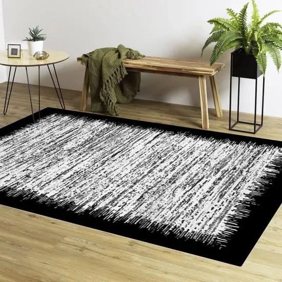 tapis moderne gris bord noir 50 x 80cm