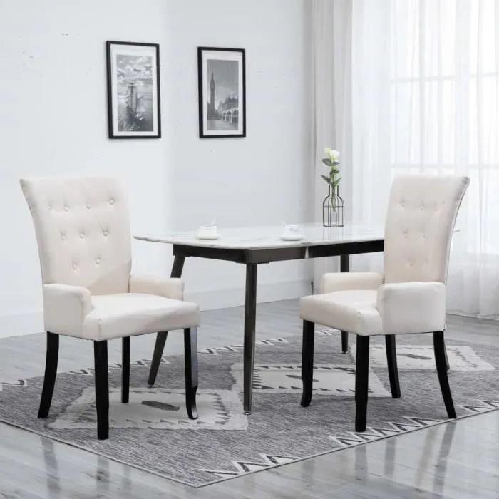 chaise de salle a manger avec accoudoirs beige tissu