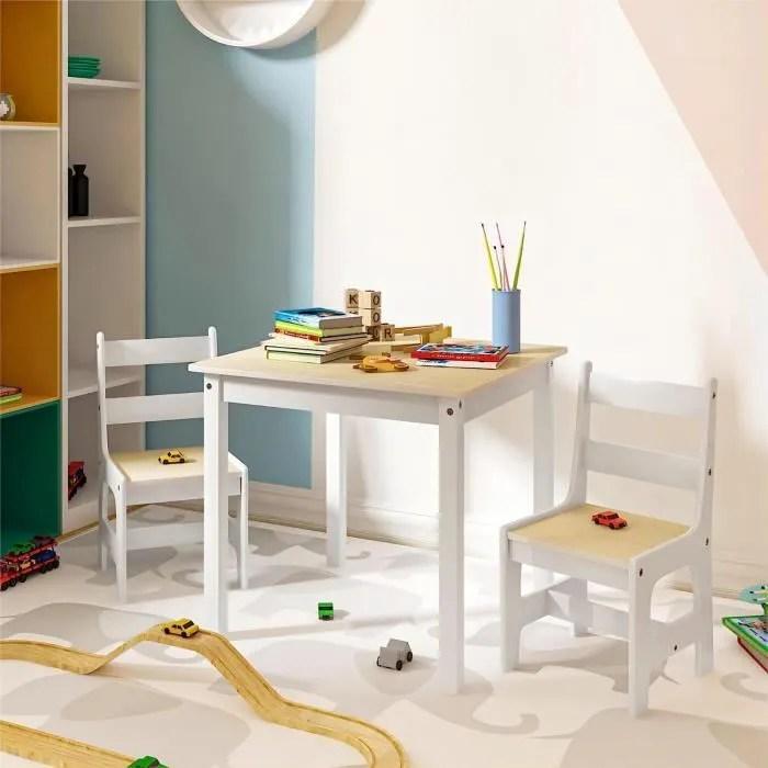 woltu ensemble table et chaises en mdf pour enfants 1 x table d enfant 2 chaises pour enfants d age prescolaire