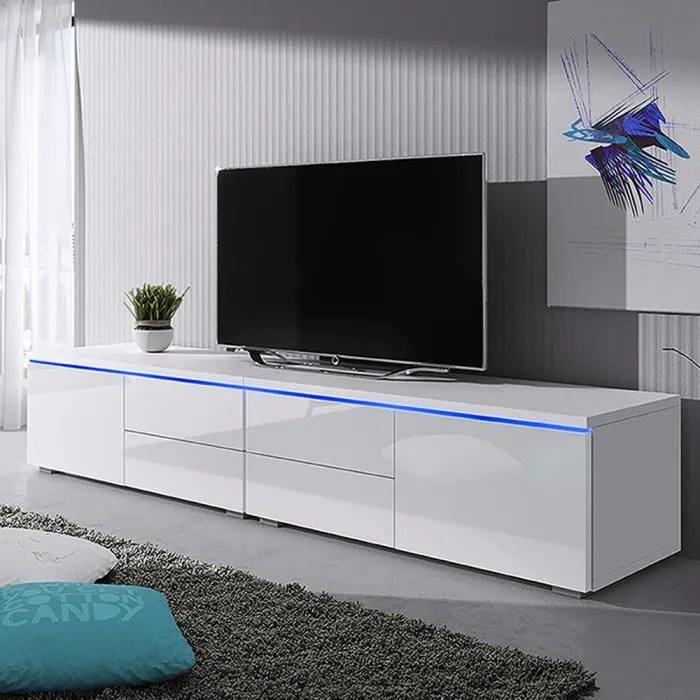 meuble tv meuble de salon luvitca dualle 2x100 cm blanc mat blanc brillant avec led avec tiroirs style moderne