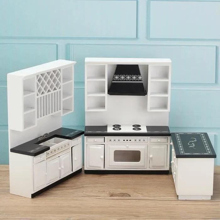 kit mini cuisine placard evier cuisiniere meuble modele en bois accessoire maison poupee noir blanc