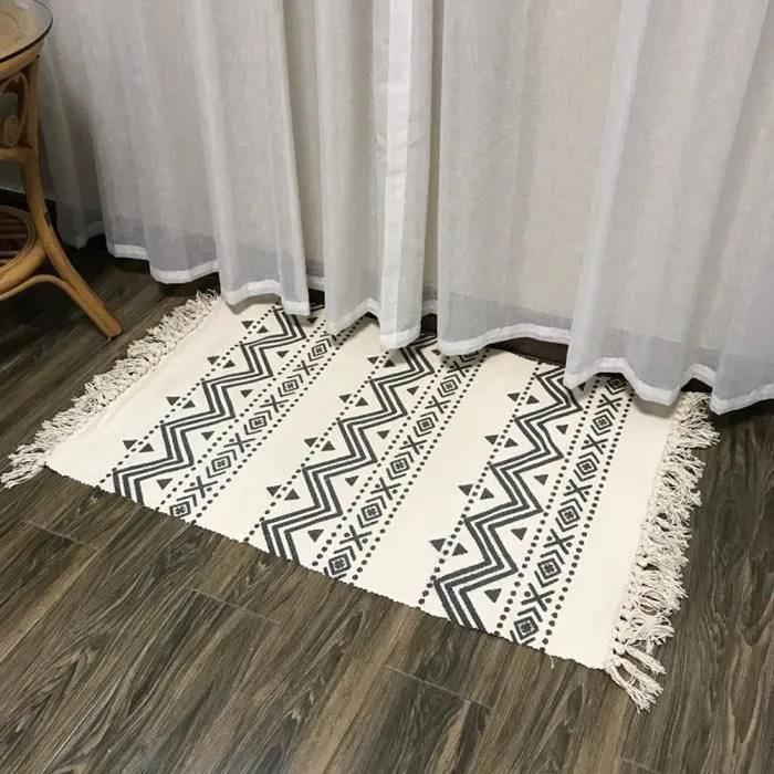 60x130cm tapis tisse a plat tapis a frange geometr