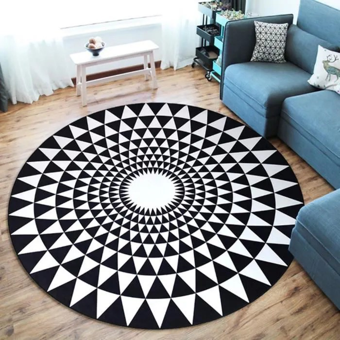 tapis rond salon chambre f120cm grand tapis simple