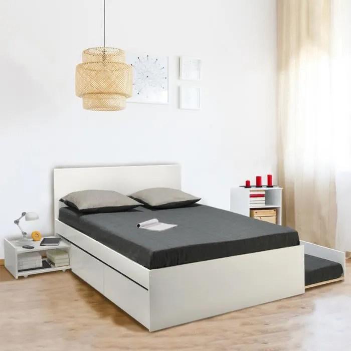 lit double alpha 140x190 2 tiroirs tiroir lit chevet blanc