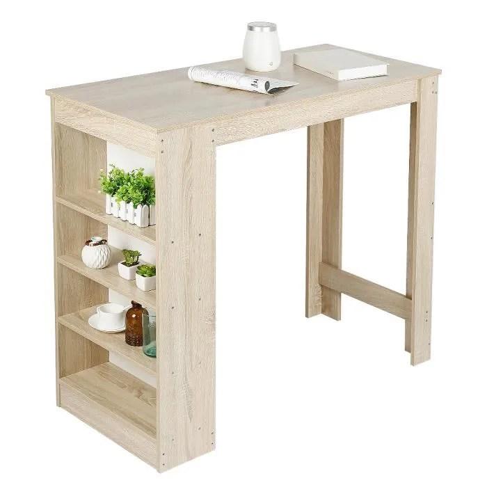 table haut de bar avec rangement contemporain pour cuisine chene