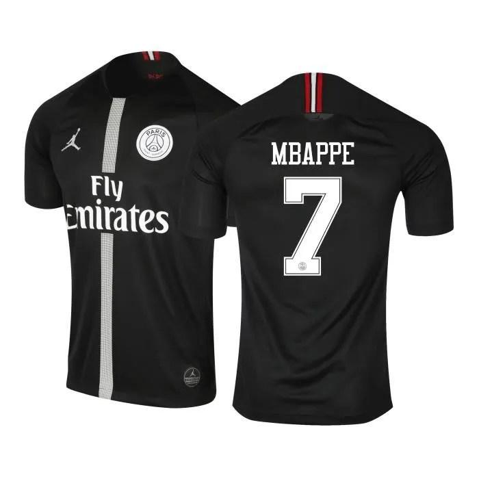 maillot jordan x psg third mbappe 2018 19 noir