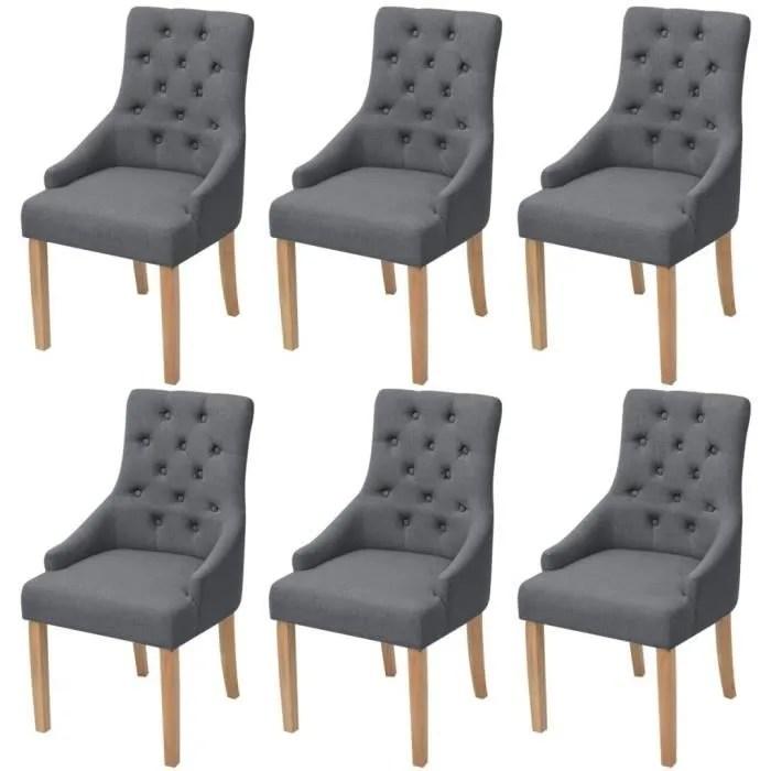 eto chaises de salle a manger 6 pcs bois de chene tissu gris fonce