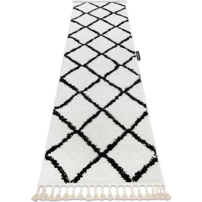 le tapis le tapis de couloir berbere cross blanc