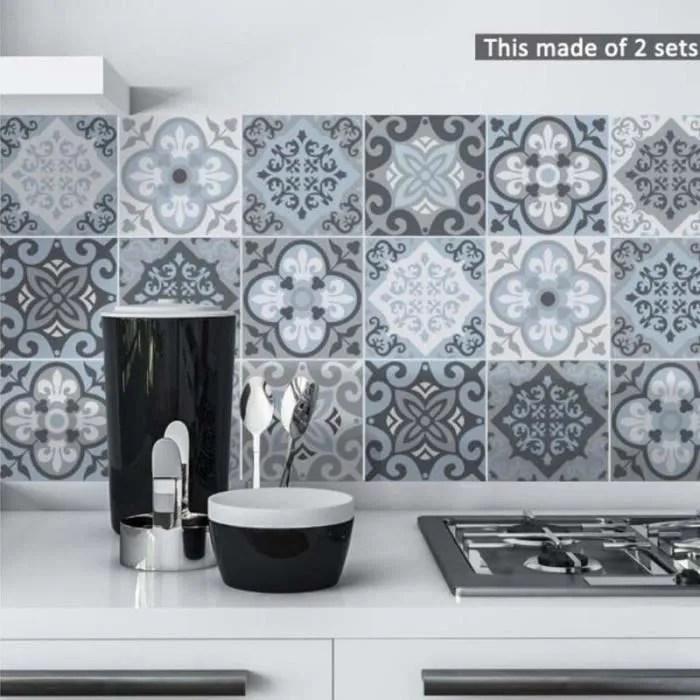 mediterraneen bleu gris carrelage stickers muraux