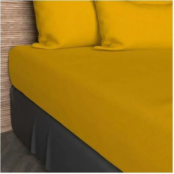 drap housse 90x200 cm en coton so jaune