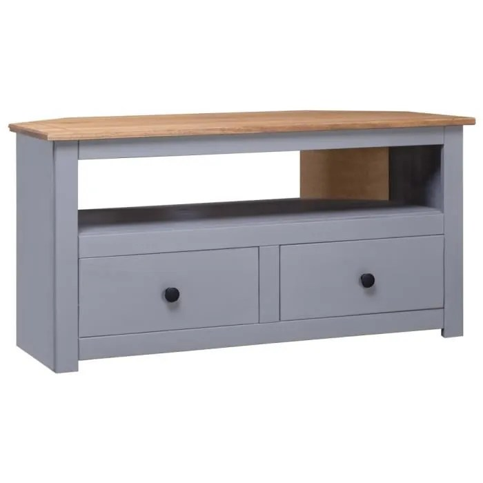 meuble tv d angle gris 93x55x49cm pin solide assor