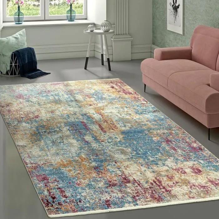 tapis de createur vintage design abstrait bleu cre