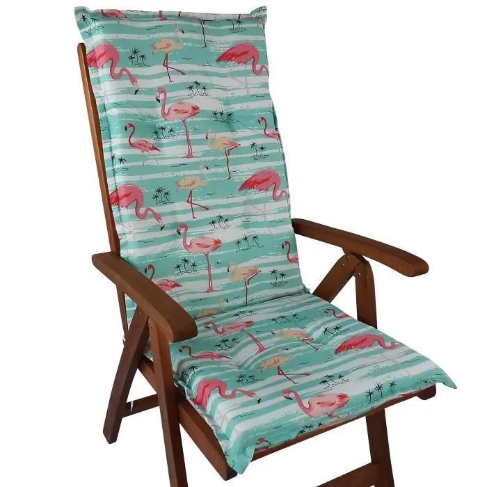 coussin a dossier haut pour chaises de jardin naxos 118x49x6 cm flamant noyau en mousse rubans de fixation eu okotex100