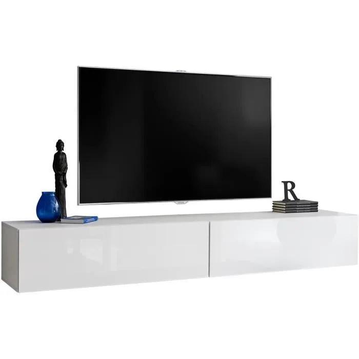 meuble tv mural suspendu avec porte deroulante c
