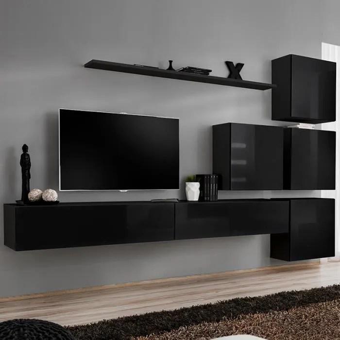 meuble tele suspendu noir curzio 4 l 310 x p 40 x