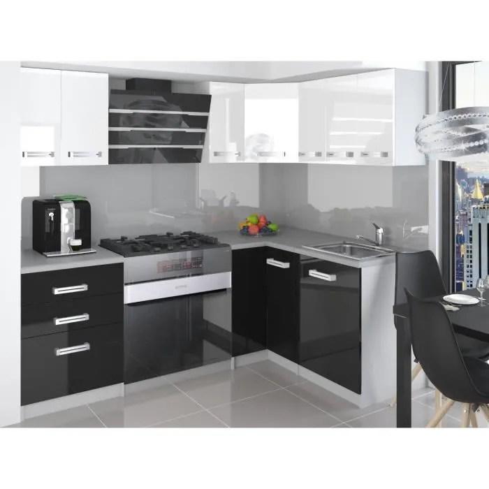 Estrada Cuisine Complete D Angle Modulaire L 300 Cm 8pcs Plan De Travail Inclus Armoires Cuisine Noir Blanc Gris Cdiscount Maison
