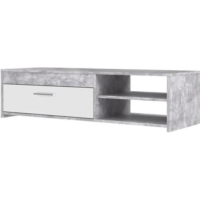 meuble tv 120 cm blanc et gris