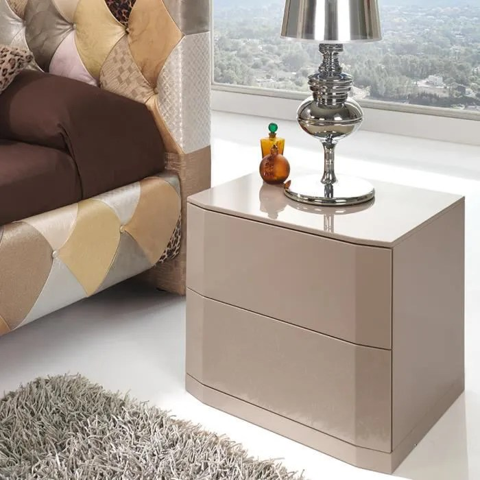table de chevet laque taupe design