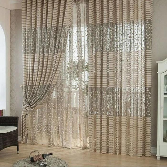 moderne khaki chambre feuille tulle porte rideau f