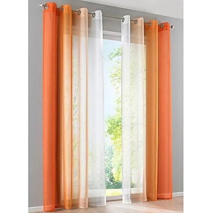 rideaux voilage blanc et orange