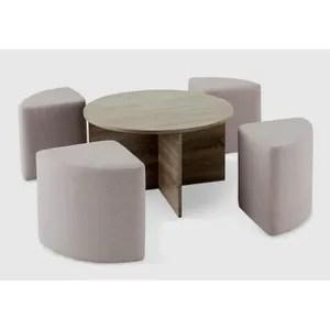 table basse avec pouf soldes