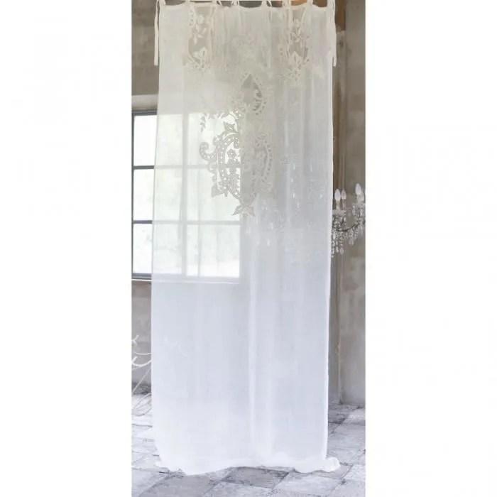 blanc mariclo rideau en lin naturel brode tosca