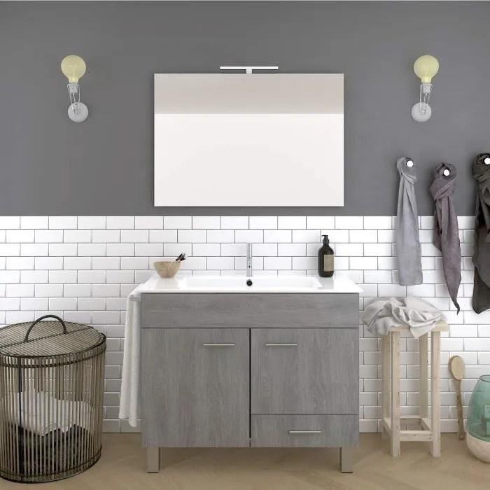 salle de bain avec vasque miroir led