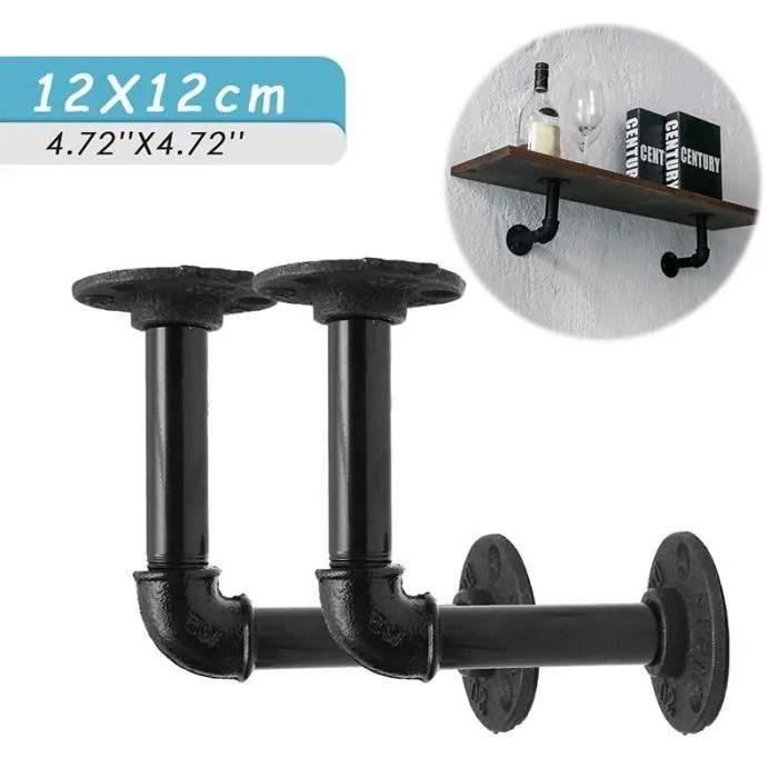 2pcs support etagere mural retro en metal avec vis support salon chambre salle de bain salle d etude shelf 12cm x 12cm so23155