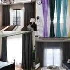 doubles rideaux occultants isolant thermique bleu ciel 135x240cm rideaux salon a œillets pour chambre effet soie de luxe