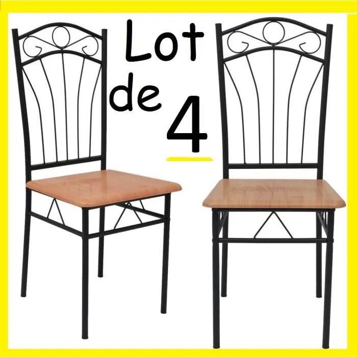 lot de 4 chaises en metal et bois effet fer forge table a manger cuisine salon design