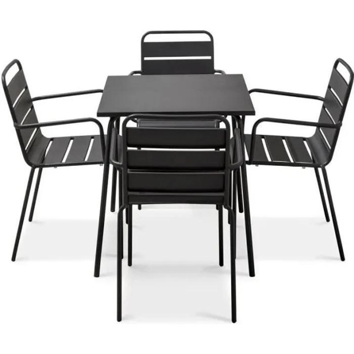 ensemble table et 4 chaises avec accoudoirs en metal set terrasse 4 personnes collection palavas