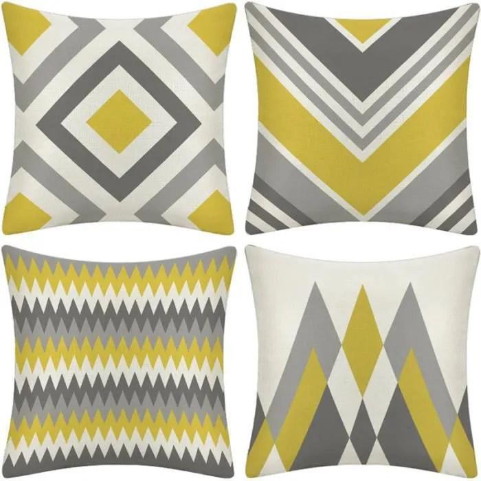 lot de 4 housse de coussin 45x45 cm en coton et lin geometrie couvre lit taie d oreiller coque carre decoration maison canap