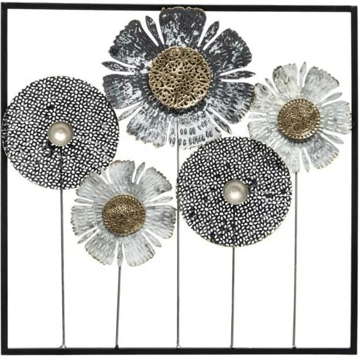 deco murale en metal fleur 50 x 50 cm multicou