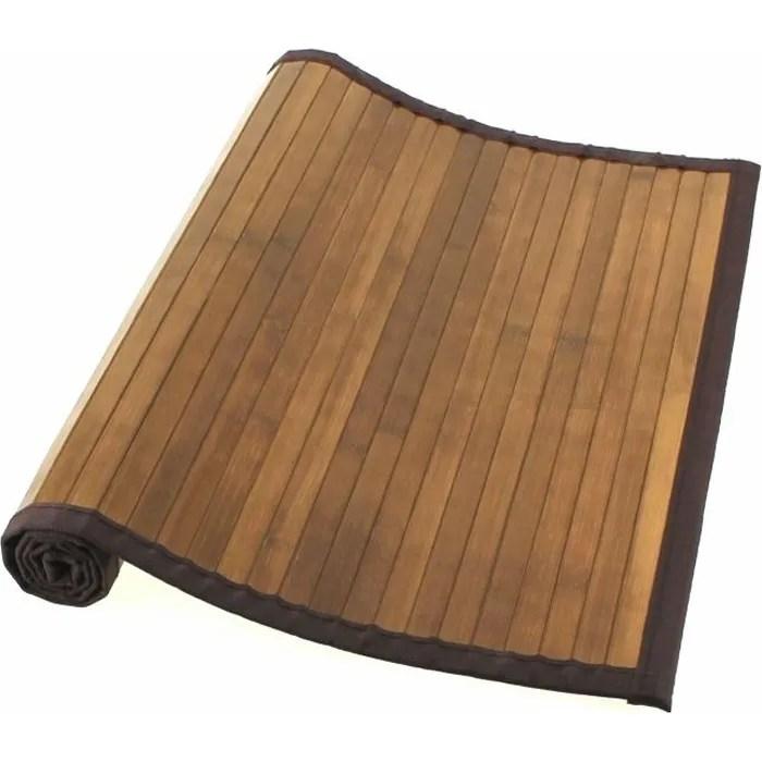 tapis bambou naturel fonce