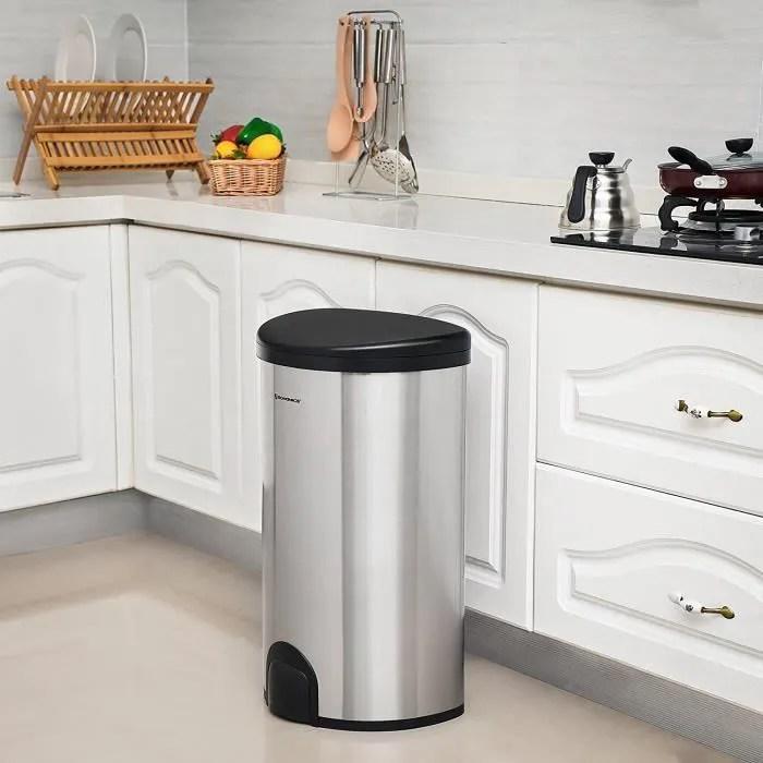 songmics poubelle automatique avec capteur de pied poubelle de cuisine avec support de sac anti odeur inox 50 l argent ltb91nb