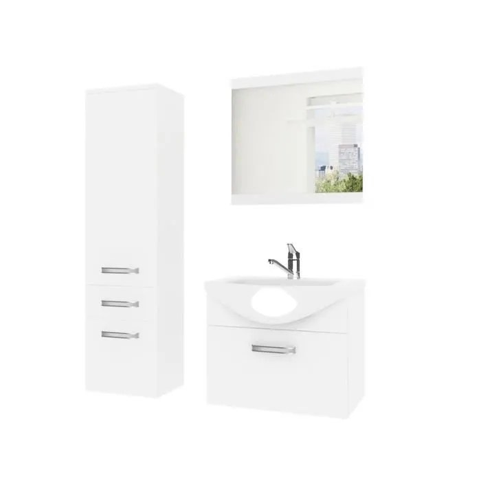 danae ensemble meubles salle de bain 4 pcs 50 cm miroir lavabo meuble sous lavabo vasque ceramique blanc