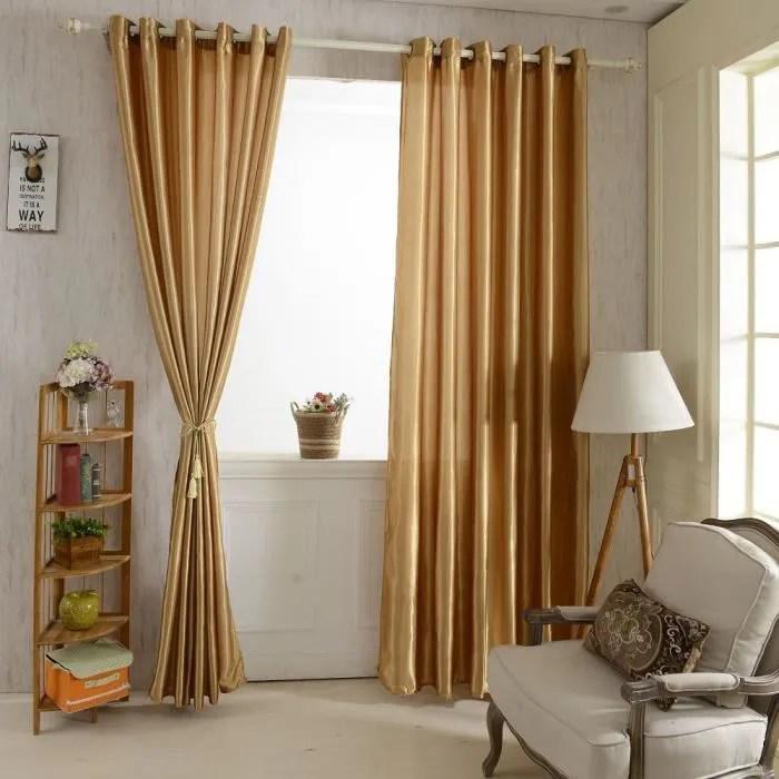 2pcs rideaux fenetre avec 6 oeillets couleur unie