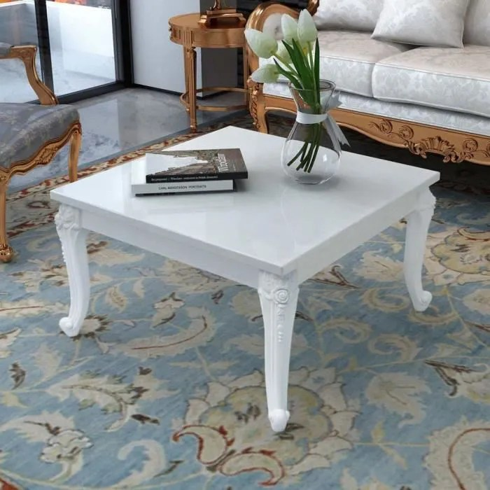 table basse carre 80 x 80 x 42 cm laquee blanc